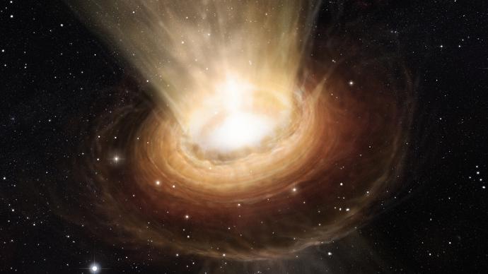 Rappresentazione artistica mostra le frazioni del buco nero supermassiccio al centro della galassia attiva NGC 3783 nella costellazione meridionale del Centauro (Il Centauro) (AFP Photo)