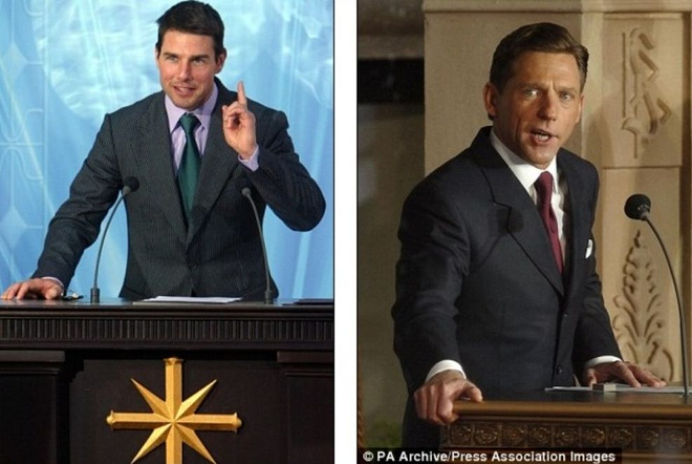 La superstar di Hollywood Tom Cruise, a sinistra, è un Scientologista fin dai primi anni 90 e, a destra, il leader di Scientology David Miscavige, mentre affronta la folla durante l'apertura di una nuova chiesa a Londra