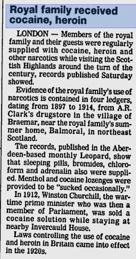 cocaina famiglia reale inglese