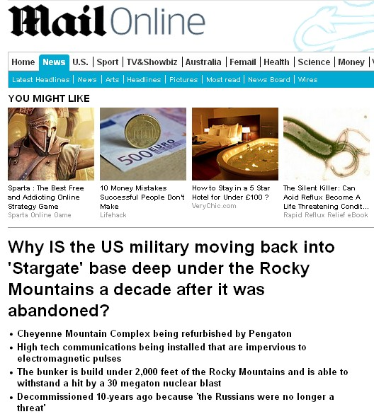 http://www.dailymail.co.uk/news/article-3031041/Why-military-moving-Stargate-base-deep-Rocky-Mountains-decade-abandoned.html#ixzz3Wod66mbE